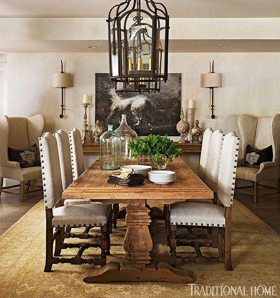 Dining Room Table from - At Home with Fashion Designer Joseph Abboud | Traditional Home - Liked @ www.homescapes-sd.com #homescapes #staging #diningroom