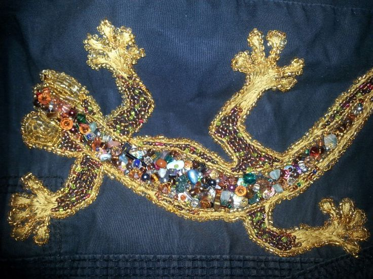 Beads and embroidery.