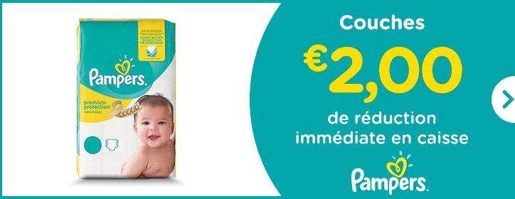 Couches - € 2,00 de réduction immédiate en caisse - Pampers