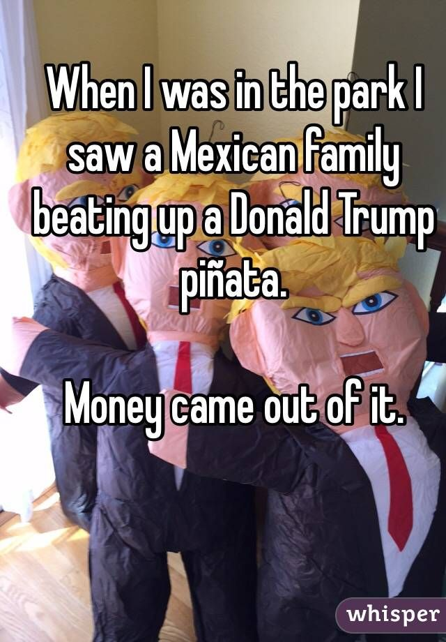 When I was in the park I saw a Mexican family beating up a Donald Trump piñata.   Money came out of it.