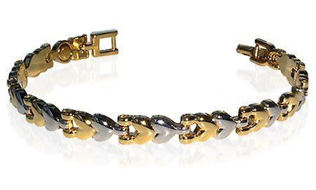 """Two Tone Magnetic Link 0.25"""" Wide Bracelet 7.5 inch Long with Fold over Clasps Gem Avenue. $8.99. Two Tone Magnetic Link Bracelet 7.5 inches. Gem Avenue sku # JBM14501TT. 6 Magnets with 2000 Gauss each. 1/4 inches wide Bracelet. Save 68%!"""