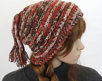 Crochet Beanie, Chunky beanie, Multi colour beanie, Women's Winter Hat, OOAK Beanie, Crochet Hat, Crochet Beanie with Pony Tail Tassels