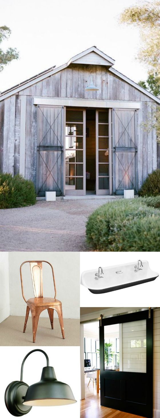 love this (the barn at the top).  wondering if there can be sliding doors like this opening onto the patio/dining area off the potting shed. also love the soft gray tones of the reclaimed/rough siding. prefer these tones to the dark browns and yellows.