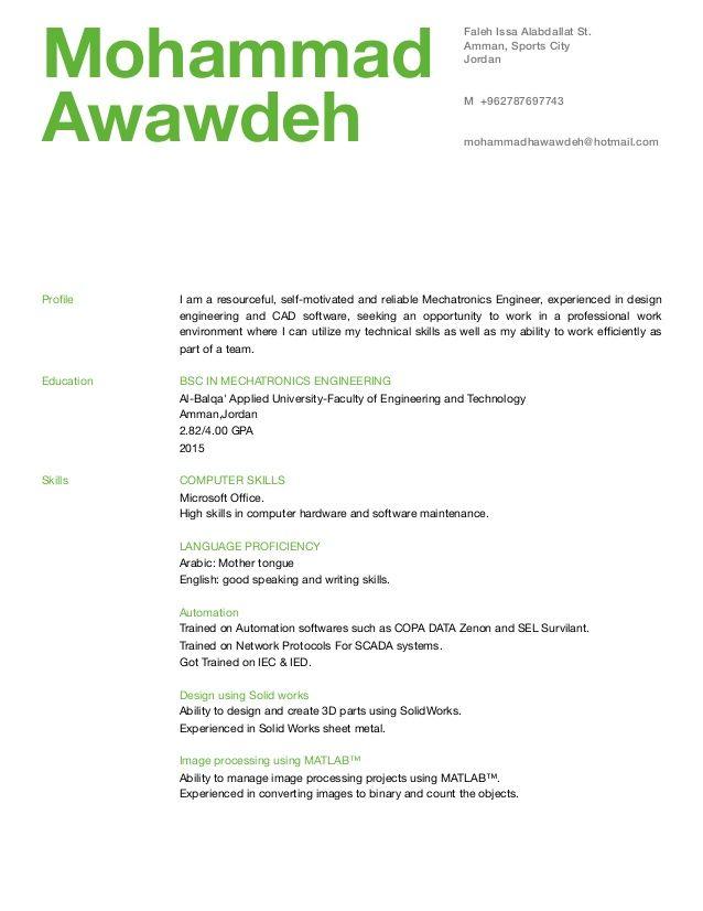 Mechatronics Engineer Sample Resume | mwb-online.co