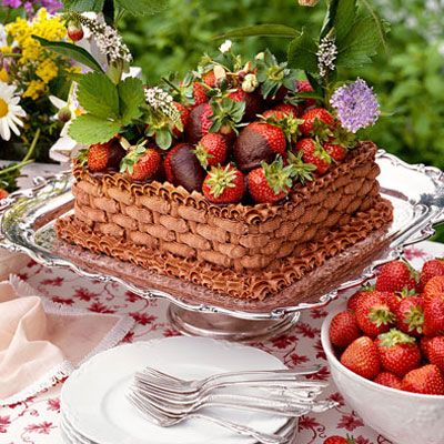 Chocolate-Strawberry Basket Cake Delicious chocolate cake topped with chocolate-dipped strawberries doubles as a gorgeous centerpiece for your next springtime                                         party.