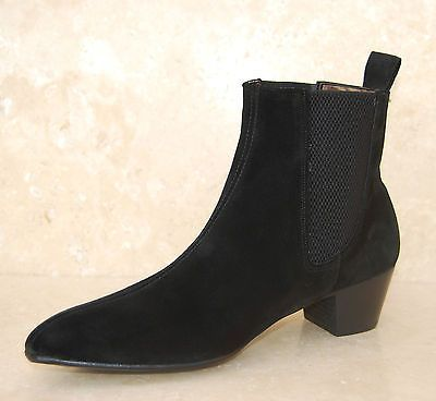 Mens Retro Sole Black Suede Lennon Chelsea Beat Beatle Boots with Cuban Heel