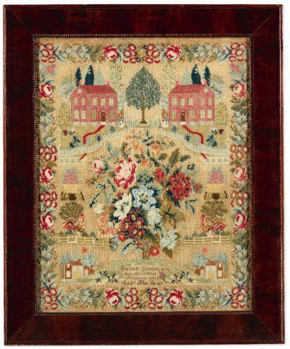 Rare Needlework Sampler, Elizabeth Garrison, Pittsgrove, Salem County, New Jersey, dated 1844 | Lot | Sotheby's