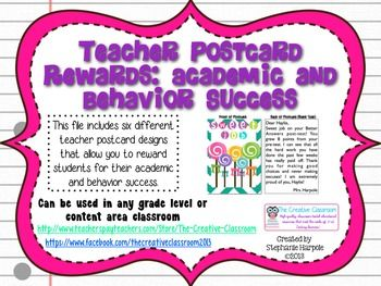 This PDF file of teacher postcards contains six different designs that focus on rewarding students for positive behavior and academic success. There are two postcards per sheet of paper. You can print out the postcards on cardstock or other heavy duty paper. On the blank side, you can write a note to your students to reward them for their positive behavior or academic success (There is an example of this in the preview file). This is a very cheap way to help reward your students.