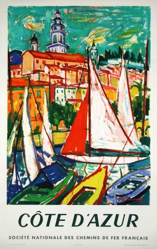 Côte D'Azur - France - 1960 - illustration de Limoux -