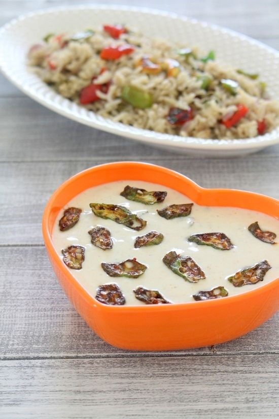 Bhindi raita recipe (Okra raita) – Here crispy, fried okra are mixed with spiced, chilled yogurt.