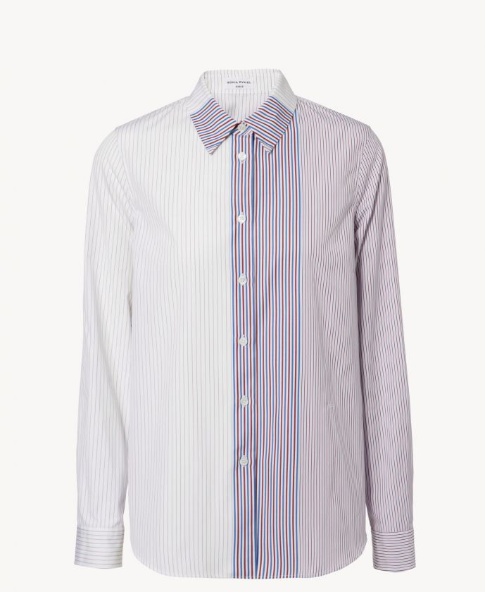 SONIA RYKEL | 30 % OFF  Hemd Violet Gestreifte Oversize-Bluse Weiß Striped SHOP NOW