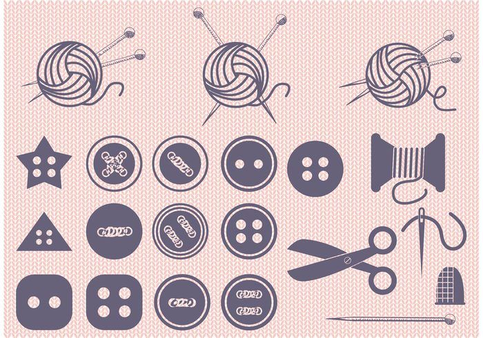 Free vector Set of Ball of Yarn and Sewing Vectors #23585