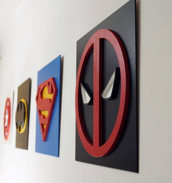Superhero Deadpool, Wall art, Kids bedroom wall art, Superhero sign