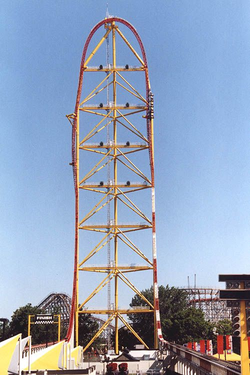 Top Thrill Dragster... Best ride ever!!! 420 ft. High, 400' vertical drop, angle of descent-90 degrees, launch speed-120 mph in less than 4 seconds,drop speed - approximately 120 mph