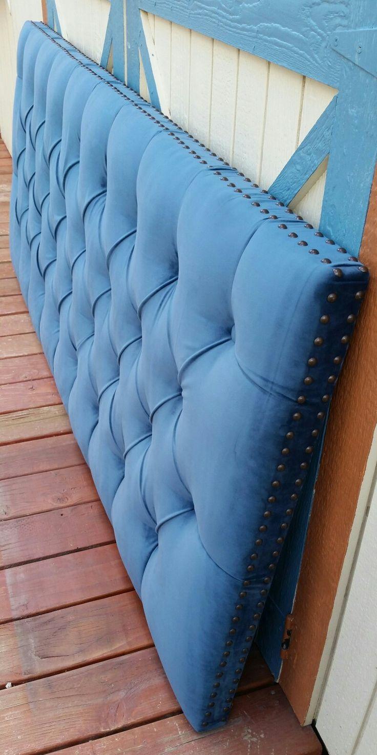 King blue velvet tufted upholstered headboard nailhead trim custom wall mounted