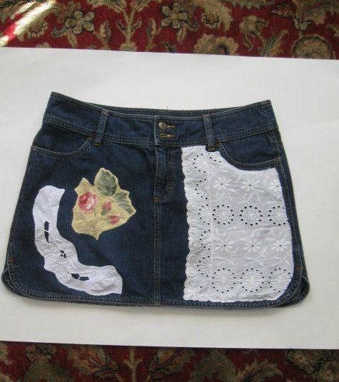 Upcycled Ladies Denim Skirt size 12 by HappyRagz on Etsy