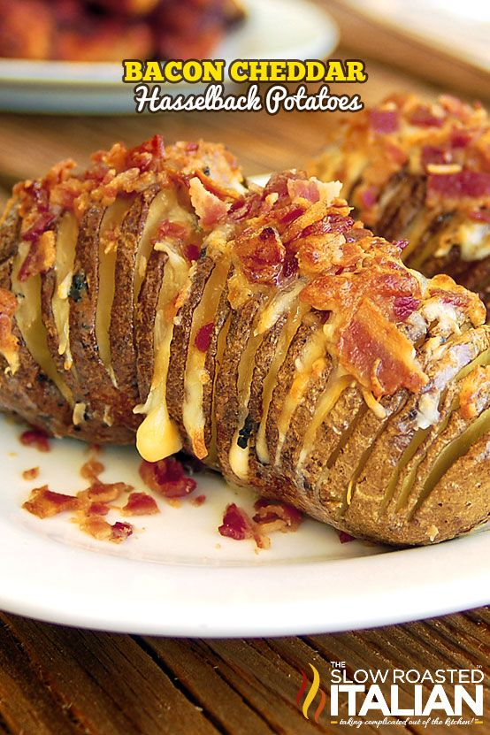 Bacon Cheddar Hasselback Potatoes are fully loaded with cheese and bacon. They cook up so perfectly and open up as they cook, so you can fill those potato slices with tons of ooey gooey cheese and crisp smoky bacon, so much deliciousness you will have to pinch yourself to make sure you are not dreaming.