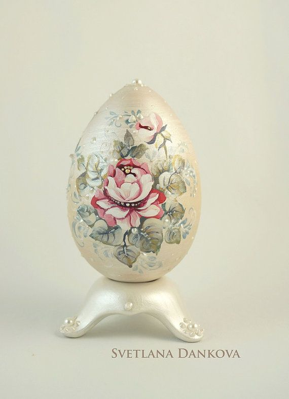 Easter egg hand painted egg vintage style shabby by LaivaArt