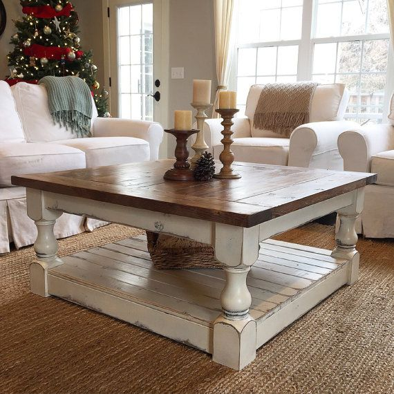 Our most popular coffee table, now in a larger size! This table shown measures 44x44x19 and features a distressed Antique white finish with a medium tone stained top finished with a matte lacquer. Beautiful, and very fun to decorate! Variations available! TURNAROUND TIMES ARE APPROXIMATELY 12 WEEKS. WE WORK IN THE ORDER THAT ITEMS ARE PURCHASED BY OUR CUSTOMERS. WE ASK FOR YOUR PATIENCE WITH THIS TURNAROUND TIME. 12 WEEKS IS AN AVERAGE, BUT IT IS ALSO AN ESTIMATE, AND TIMES COULD VARY…