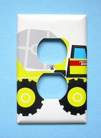 Tonka CEMENT Truck OUTLET switch plate switchplate by SwitchPlatePlanet. $7.99. Decoupage, handcrafted plates. All ORIGINAL Designs! Several layers of acrylic for protection. Screws included. Please allow 5 days for shipping. Made with Licensed Materials.