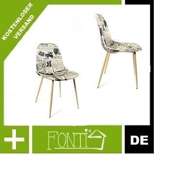 Design Stuhl Stoff Retro Forbes Creme/schwarz Einzeln Sets In Büro U0026  Schreibwaren, Büromöbel, Sitzmöbel