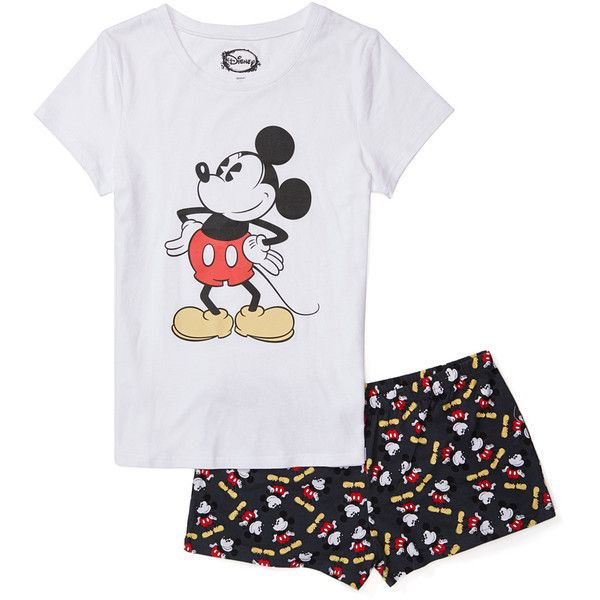 Mickey Mouse & Minnie Mouse Mickey Mouse Short Pajama Set ($15) ❤ liked on Polyvore featuring intimates, sleepwear, pajamas, disney, cotton pjs, cotton sleepwear, short pajamas and mickey mouse pjs