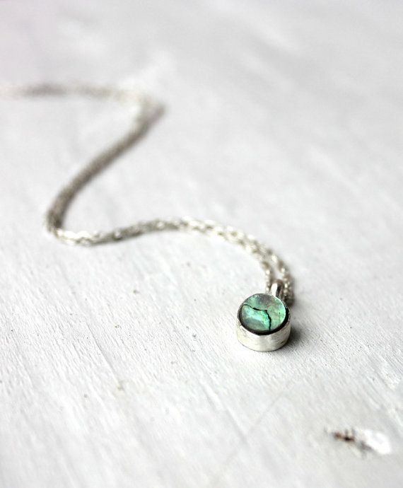 Sterling silver Necklace - Abalone shell Necklace. Needs to have a very long chain