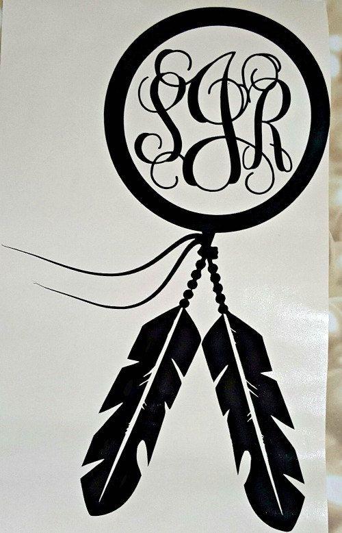 Dreamcatcher Vinyl Decal Dream Catcher Monogram By