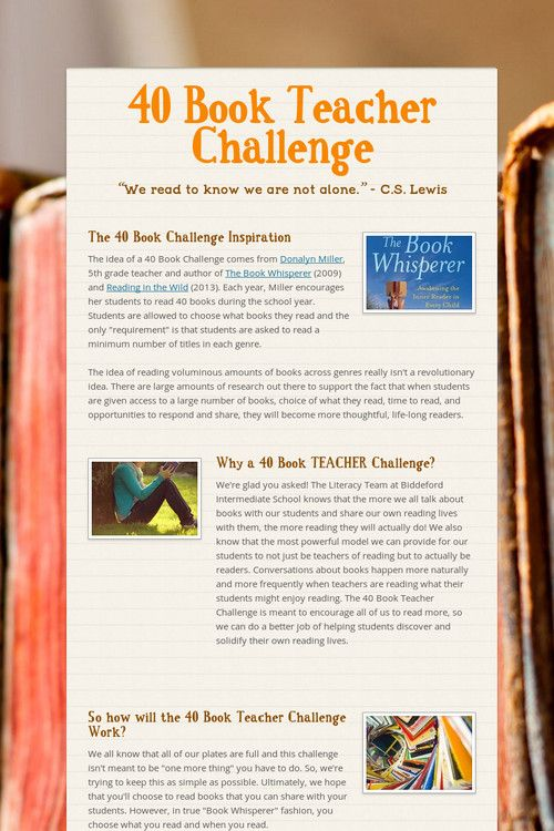 40 Book Teacher Challenge - Great way to get teachers familiar with what's new in kid's books