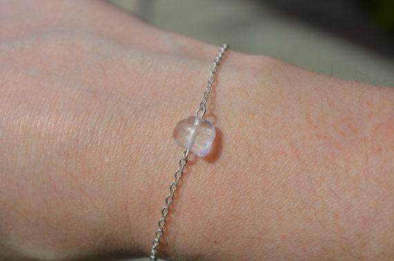 Clear Quartz Bracelet Dainty Silver Chain Bracelet Birthstone Jewelry Crystal…