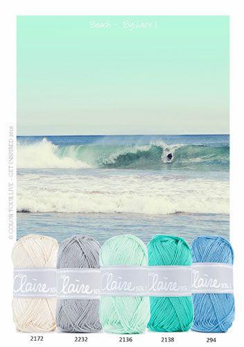 Perfect kleuren combinatie voor een mooie zomerse deken of shawl tegen de fellen zon. Deze en nog veel meer prachtige kleuren zijn de vinden op de KNIT&KNOT beurs