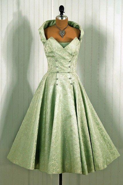 1950's Vintage Fred Perlberg Designer Couture Mint-Green Rhinestone Silk Halter Strapless Princess Wedding Party Dress