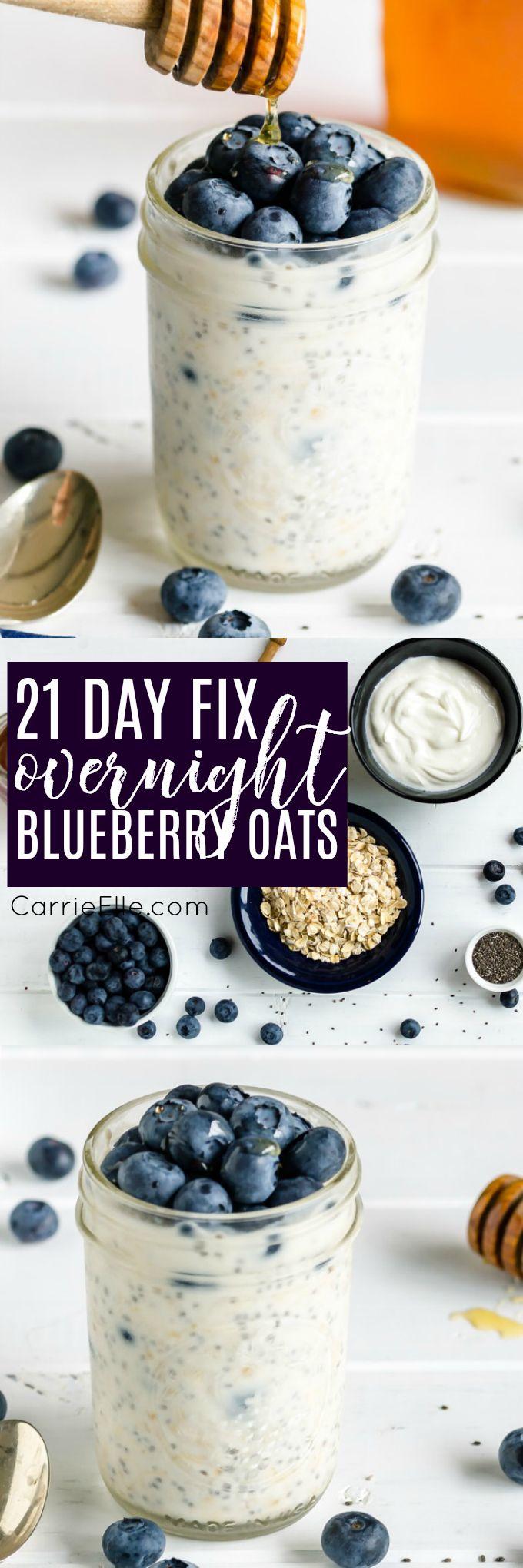 21 Day Fix Blueberry Overnight Oats via @carrieelleblog