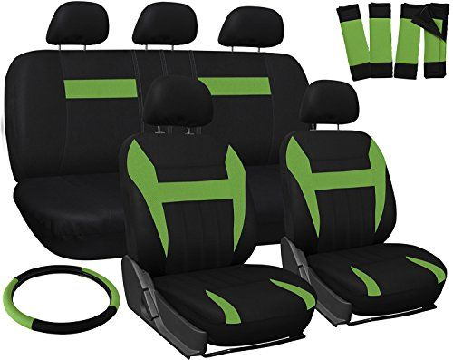 OxGord Car Seat Cover - Green Black fits Car Truck Van SUV - Full Set. For product info go to:  https://www.caraccessoriesonlinemarket.com/oxgord-car-seat-cover-green-black-fits-car-truck-van-suv-full-set/