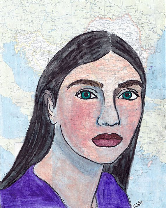 Custom Portrait from Your Favorite Photo Painted with Mixed Media on Map Paper Great OOAK Gift for Globe Trotters and Travelers
