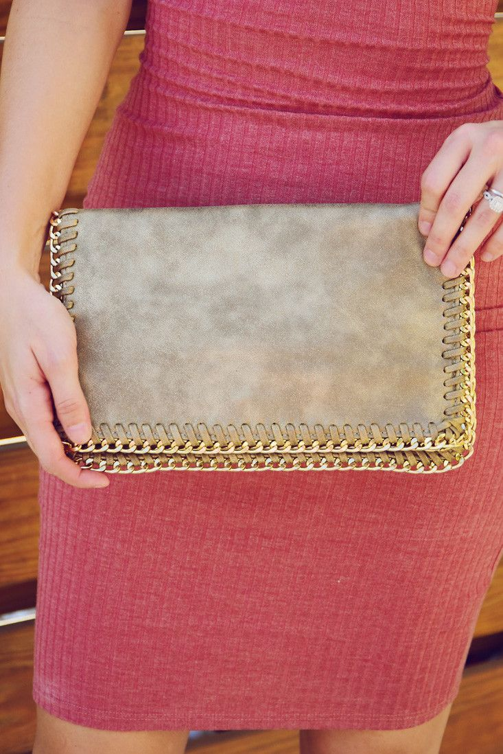 Don't Wait Up Clutch: Taupe/Gold