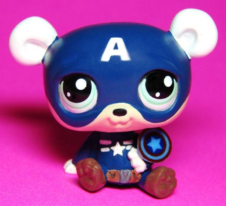 Bear Captain America Super Hero OOAK Hand Painted Custom Littlest Pet Shop  #Hasbro