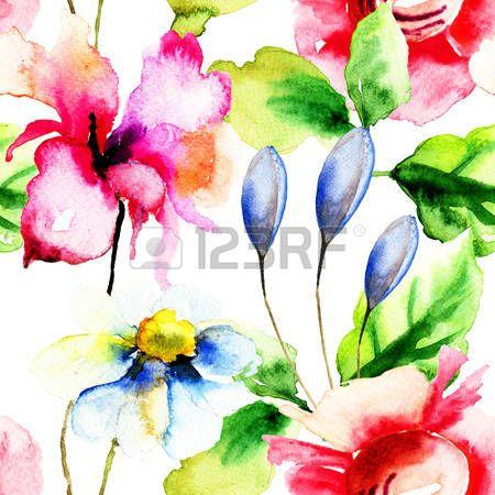 Carta da parati senza soluzione di continuit� con i fiori estivi, acquerello illustrazione photo