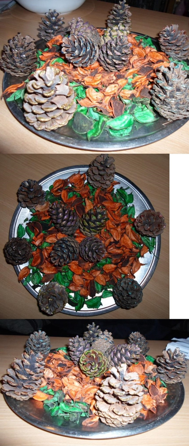 Decoration with pine cones and dried flower leafs.