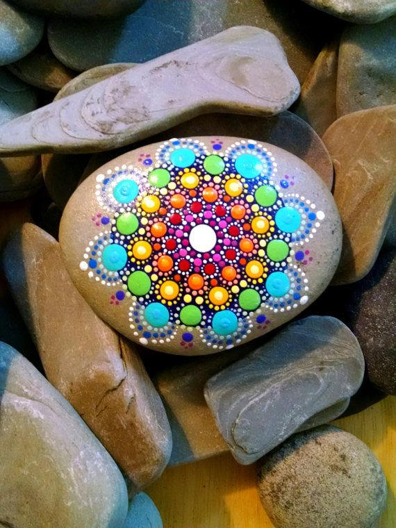 Large Hand Painted Beach Stone ~ Rainbow Painted Rock ~ Colorful Dot Art Flower Home Decor ~ Unique Ornament