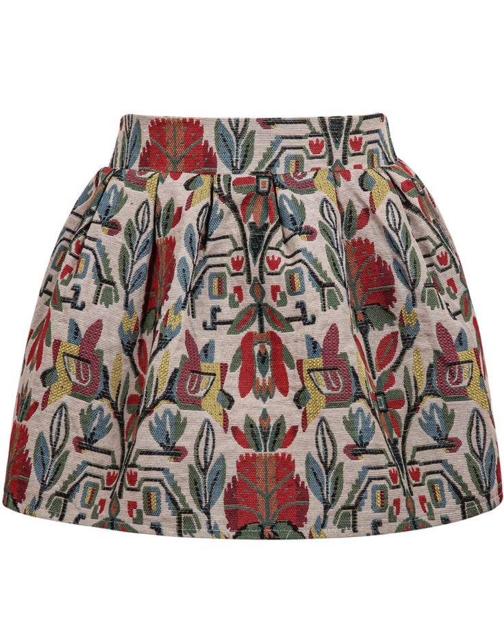 Apricot Vintage Floral Flare Skirt 15.83