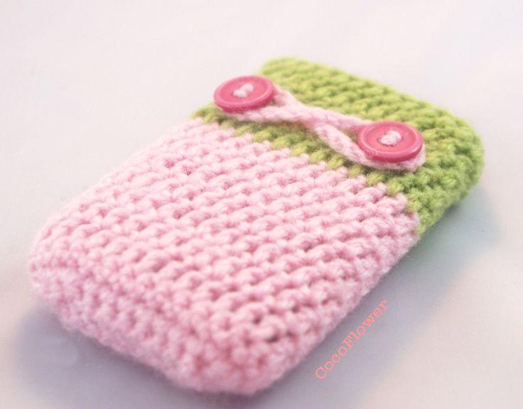 Pink Blackberry bold Cover, cell phone cozy, Pastel crochet case, Wool crochet romantic