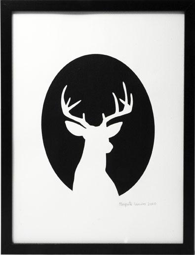 Image of Hand printed deer cameo print