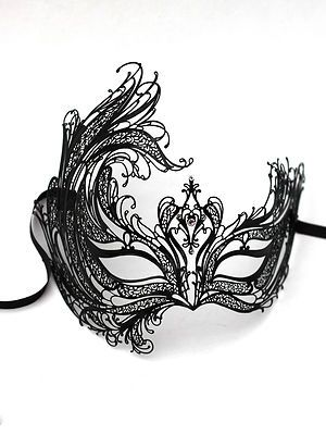 Luxury 'Swan' Venetian Metal Black Filigree Masquerade Mask, with Crystals. Ball