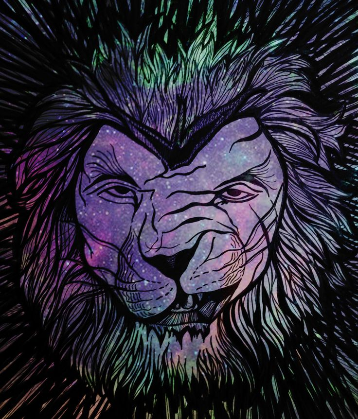 Ilustração de um leão com textura de galáxia