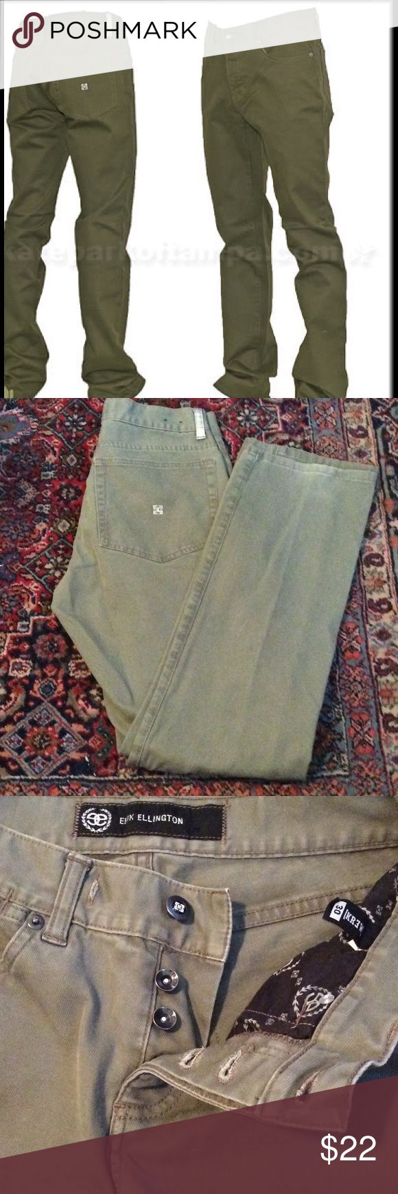 Erik Ellington Krew EE Slims Twill jeans Medium/fair condition. Price reflects. 4 buttons in front. 98% cotton 2% spandex Erik Ellington Krew Jeans