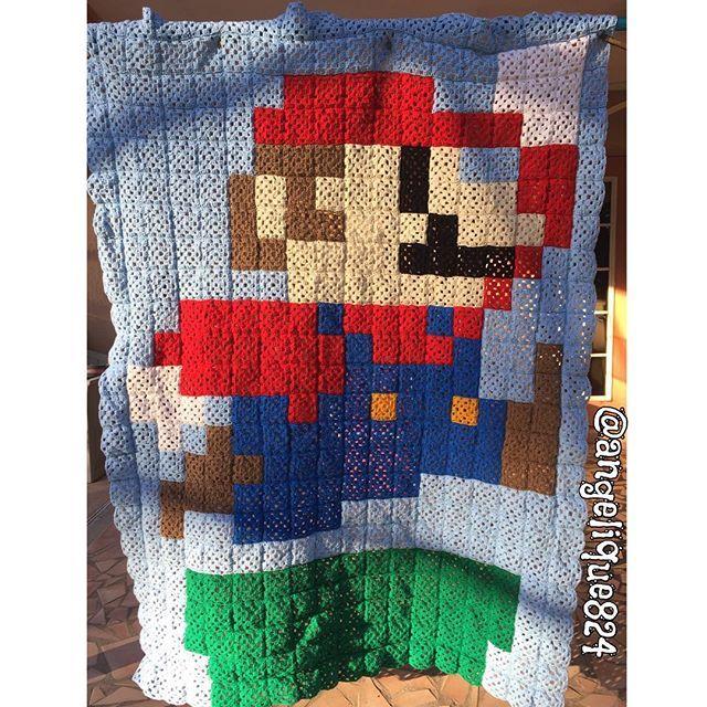 Mario pixel crochet blanket by angelique824