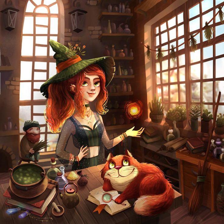 Супер анимированные, прикольные картинки изображением ведьмочки рыжей с двумя котами