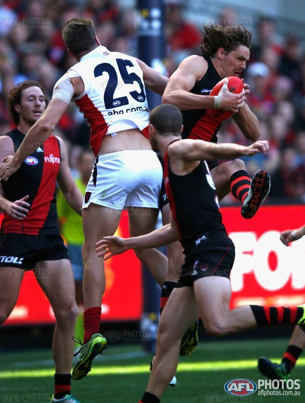 Joe Daniher of the Bombers marks during the 2016 AFL Round 02 match between the Melbourne Demons and the Essendon Bombers at the Melbourne Cricket Ground, Melbourne on April 2, 2016.