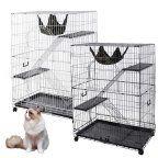 "Buy Yescom 51""x36""x22"" Large Cat Pets Wire Cage 2 Door Playpen w/ Hammock 2 Ramp Ladders (White Vein) at Walmart.com"
